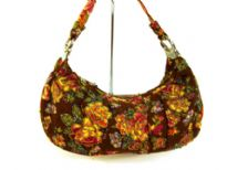 Sequin Hand Beaded Floral Pattern Tapestry Bag with Single Handle.