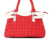 PVC Fashion Handbag with self print, double shoulder straps & trim in contrast color.