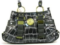 Fashion Handbag in Metallic PVC material with belted accents in the front as well as open pockets on the sides. Double shoulder handle with top zipper closure also.