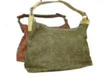 Jacquard Fabric Handbag with Gold (or Bronze) Embossed Print & PVC Single Handle. Top zipper closure.