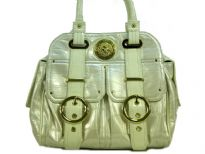 Double strapped PVC fashion handbag made with multiple extra outter compartments and buckles. Magnetic closure on top.
