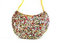 Hand Beaded Shoulder Bag. Snap Button Closing.