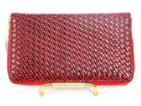 Knit Pattern Embossed PVC all round zipper wallet