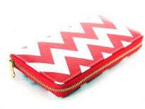 Zig-Zag print PVC all round zipper ladies wallet