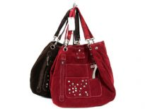 Tote bag with top magnetic closure, detachable double handle and stud details. Made of faux suede.
