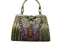 Hand beaded butterfly embroidered single handle evening bag.
