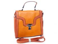 PVC ostrich embossed handbag with metal clasp. Top zipper closing and adjustable shoulder strap.