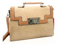 PVC box shaped ostrich embossed fashion handbag with twist lock. Top zipper closing and back zipper pocket.