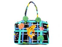 100% cotton Beach Bag. Top zipper closing.