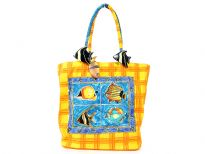 Sea animals inspired hand beaded bag made with double shoulders straps and a zipper closure.  Made of Canvas material.
