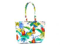 Printed canvas beach Bag. Top zipper closing. It has double handle and is water proof.