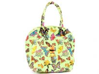 100% cotton Beach Bag. Top zipper closing. Interior of the bag is plastic lined.