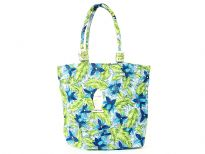 Beach bag embellished with flower and leaf designs.  Made with double shoulder straps.  Made of 100% Cotton.