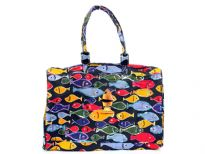 Printed canvas beach bag. Top zipper closure. It has double handle and is water proof.