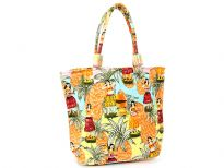 Hula themed beach bag embellished with Hula dancers and double shoulder straps.  Made of 100% Cotton.