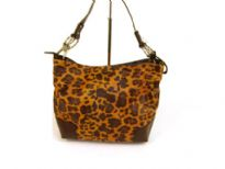Designer Inspired Tiger Print Shoulder Bag with single strap and a zipper closure. Made of faux leather.