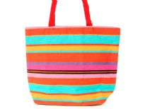 Printed canvas tote. Top zipper closure