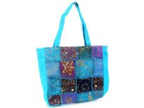Patchwork Indian Bohemian Bag with Sequins. Double shoulder straps on this fabric bag.