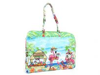 100% cotton beach bag. Top zipper closing. Water proof.