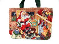 Hand beaded Christmas inspired Tote bag made of 100% Cotton. Top zipper closing.