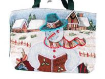 Christmas inspired hand made tote bag.  Embellished with two shoulder straps and a picture of a snowman reading.  Made of 100% Cotton.