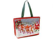 Christmas Cotton Tote bag. Top zipper closing.
