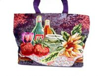 Hand beaded Tote bag embellished with a picnic picture.  Made of 100% Cotton.