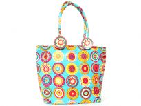 Multi colored designed beach bag made with ajustable shoulder straps.  Made of 100% Cotton.