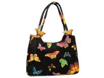 Multi butterfly colored design beach bag made with double shoulder straps and a zipper closure. Made of 100% Cotton.
