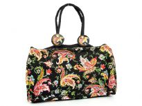 Multi color designed duffle type beach bag embellished with double shoulder straps and an zipper closure.  Made of 100% Cotton.