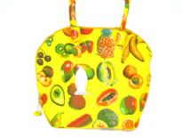 Fruit inspired beach bag made with double shoulder straps and a zipper closure. Made of 100% Cotton.
