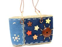 Denim & Straw Bag