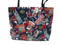 Bucket tote bag has a sports theme artwork pattern and a double handle.
