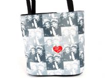 """I Love Lucy"" Bucket Bag with Double Shoulder Handle, Top zipper closure & Solid Base."
