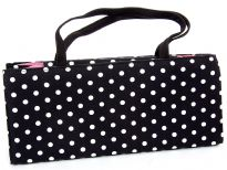 Polka Dot box bag with double handle. Made in USA.