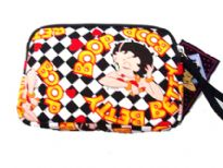 Betty Boop cosmetic bag made from fabric with zipper.