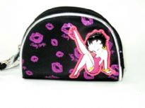 Betty Boop Semi Circle Shaped Cosmetic bag with kicking betty boop logo on it.
