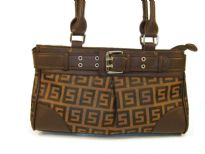 Patterned Jacquard Handbag with Belt like trim. Top zipper closure and double shoulder handle. Imported.