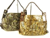 Snake-skin print PVC Handbag with single shoulder handle & top zipper closure.