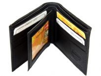 Carry your money in style. Mens Double bill bifold leather wallet. This wallet is made of genuine leather. The middle flap holds clear slots for ID cards. This wallet has 6 card slots for credit cards. As this is genuine leather, please be aware that there will be some small creases and nicks in the leather but the wallet are all brand new.