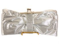 Rhinestones studded satin evening bag