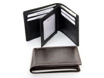 Genuine leather bi-fold men wallet. The wallet has two money compartments, 9 credit card slots with a removable picture holder and a fixed center flap with picture ID window, Features elegant white stitching on the outside.