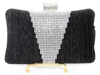 Crocheted Satin Metal Frame Evening Bag.