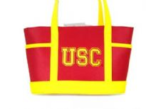 Nylon Collegiate Licensed Tote Bag. Has Snap for faster use is made from fabric has double handle.