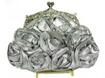 Satin Rose Flower Evening Bag