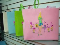 PVC Picture Handbag with Girl & flamingo design in multi colors. Double shoulder handle.