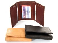 Genuine leather (Cowhide) tri-fold men wallet.