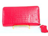 Genuine Leather crocodile embossed all round zipper ladies wallet