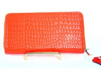 Genuine Leather crocodile embossed all round zipper ladies wallet.