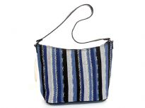 Multi colored striped hobo bag has a top zipper closure and a single strap. Made of fabric.